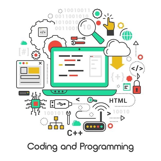 ラップトップおよびコンピューターの言語で設定されたアイコン Premiumベクター