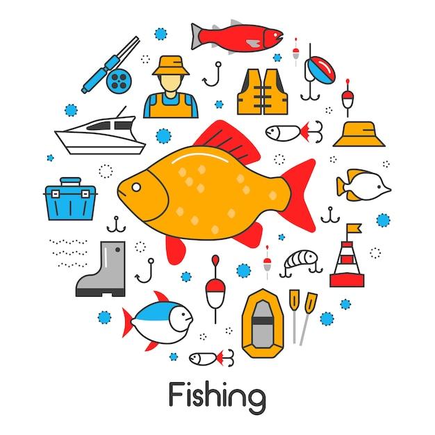 Набор иконок с рыбаком и инструментами Premium векторы