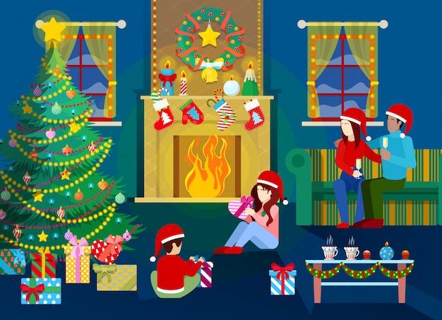 メリークリスマスイブ。クリスマスツリー、暖炉、ギフトとインテリアで幸せな家族。 Premiumベクター
