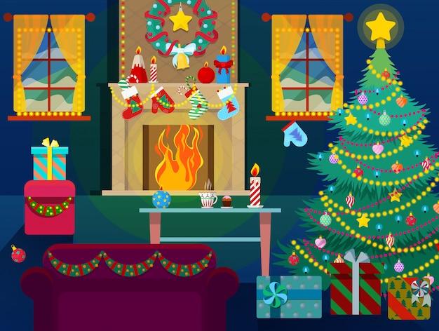 メリークリスマスホームインテリアクリスマスツリー、暖炉、ギフト。 Premiumベクター
