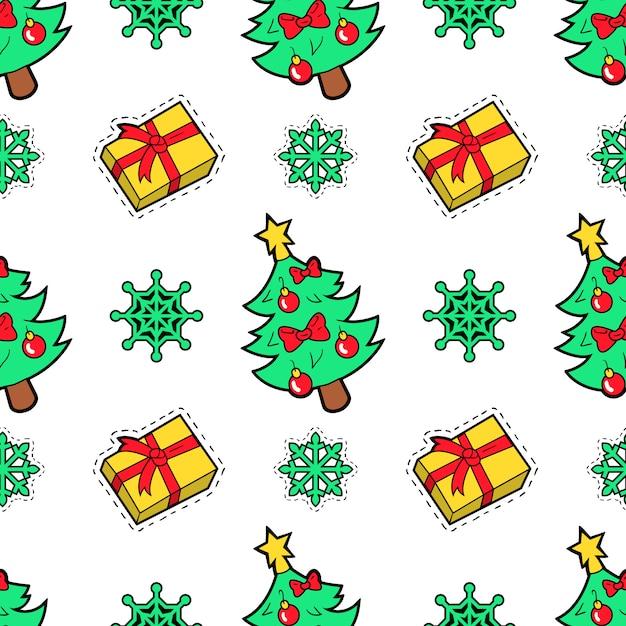 Счастливого рождества бесшовные шаблон с рождественских подарков и носков. упаковочная бумага для зимних праздников. Premium векторы
