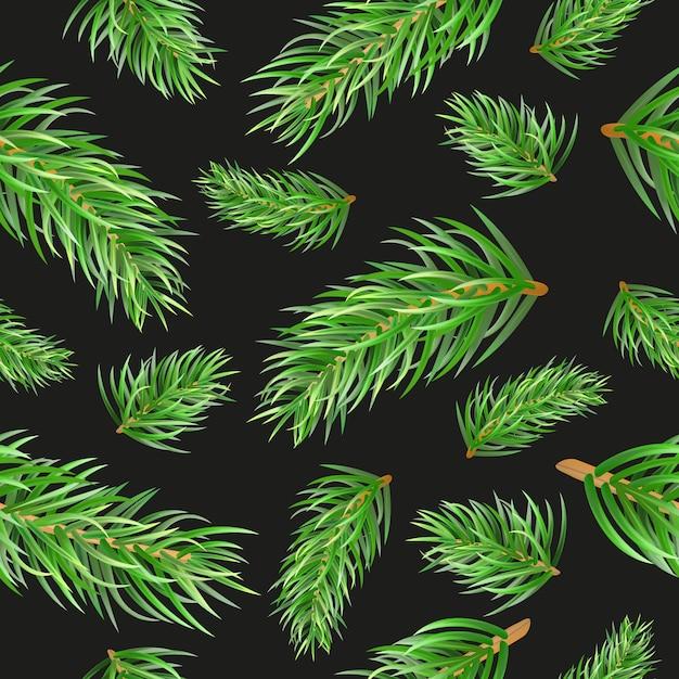 Рождественская елка еловые ветки бесшовные модели. Premium векторы