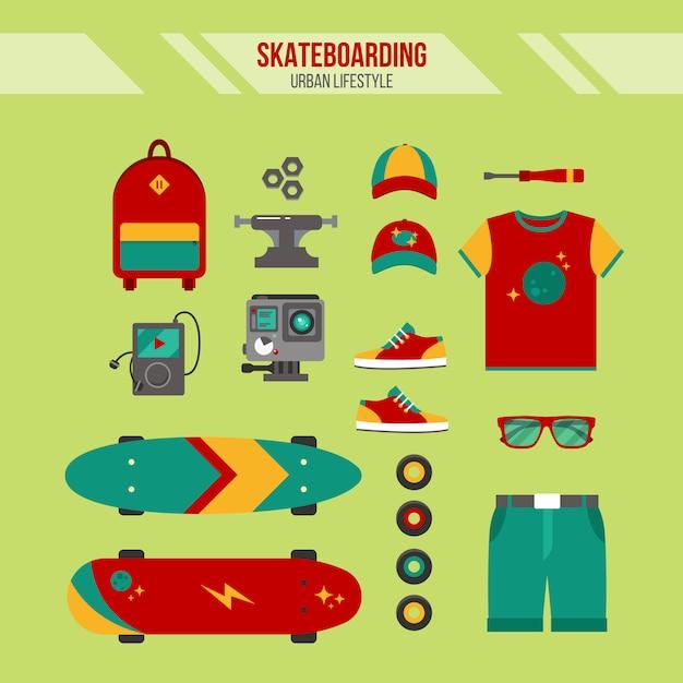 Комплект для скейтбординга. городской образ жизни. набор аксессуаров для скейтбординга Premium векторы