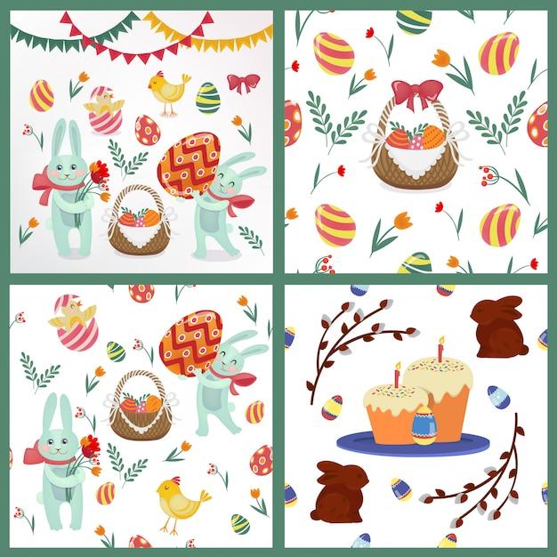 背景、要素 - ウサギ、卵、ひよこ、花、花輪のハッピーイースターセット Premiumベクター