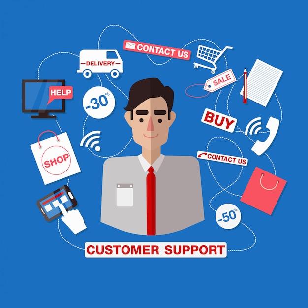 顧客サービス。オンラインサービス顧客サポート。サポートコールセンター。男アシスタント助けて。 Premiumベクター
