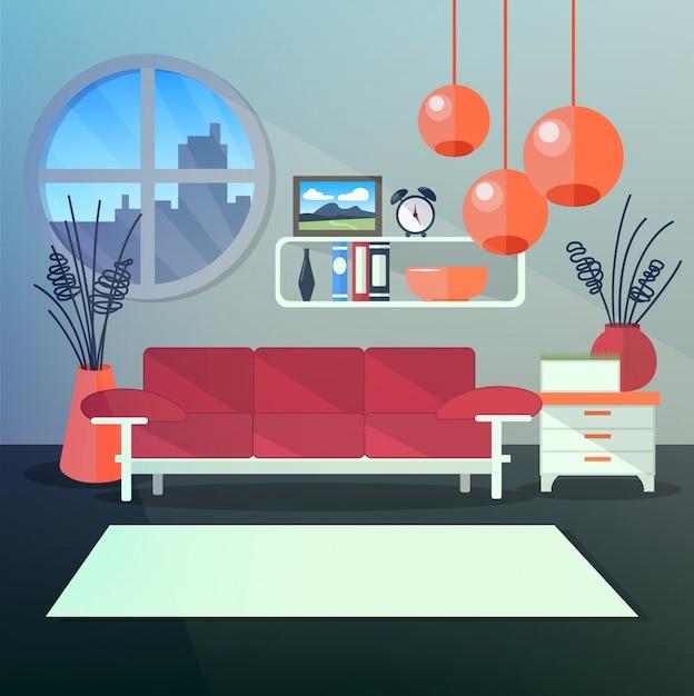 本棚とスタイリッシュなオレンジ色のシャンデリア付きのリビングルームのモダンなインテリア Premiumベクター