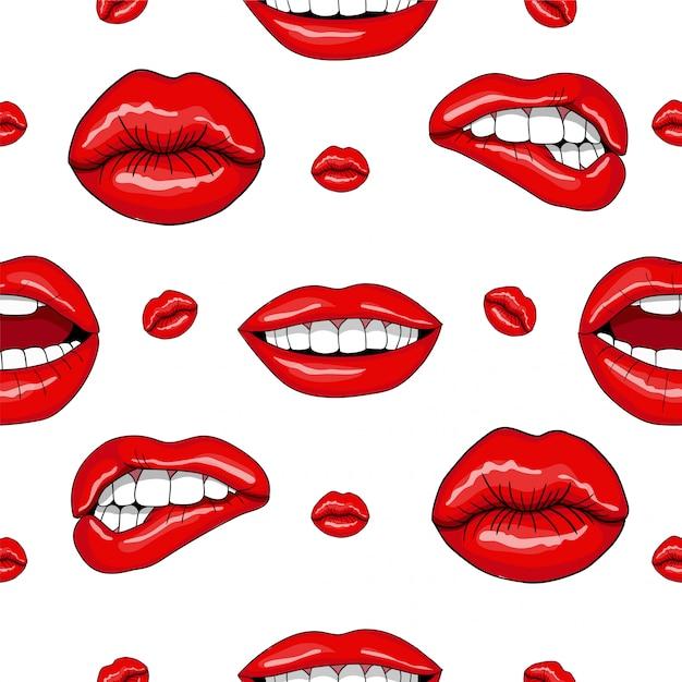 レトロなポップアートスタイルで唇のシームレスパターン Premiumベクター