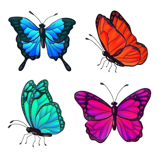 カラフルなリアルな蝶のセットです。ベクトルイラスト Premiumベクター