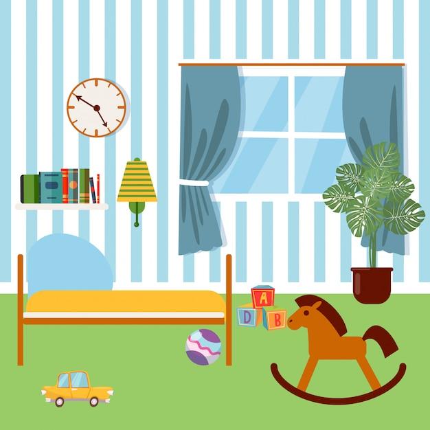 子供の寝室のインテリア。子供用家具とおもちゃベクトルイラスト Premiumベクター