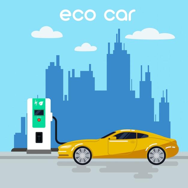 電気自動車。充電ステーションにエコカー。グリーンエネルギー電気自動車ベクトルイラスト Premiumベクター