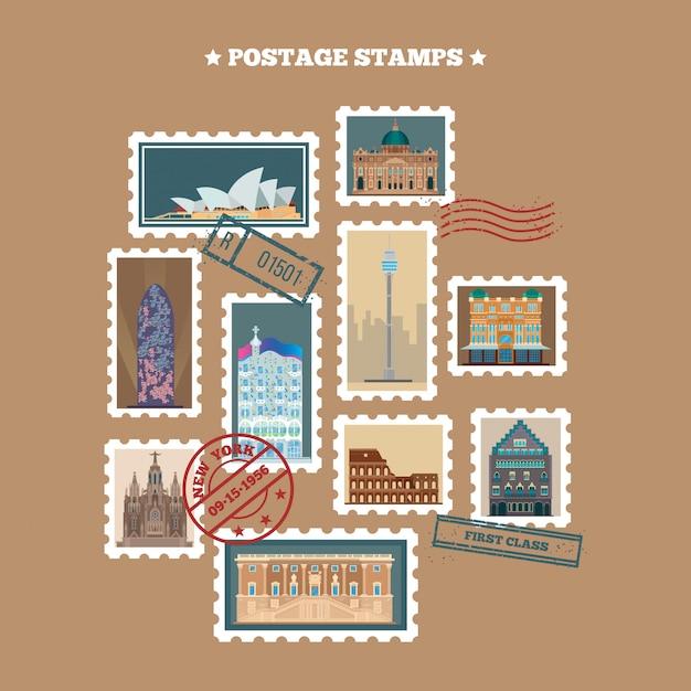 Туристические почтовые марки Premium векторы