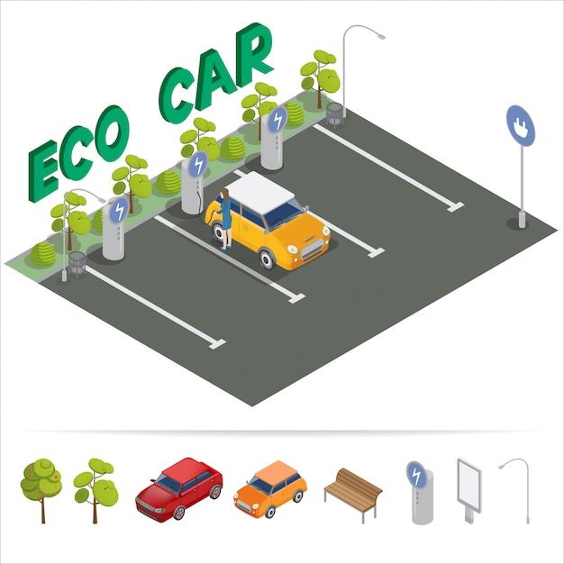 エコカー等尺性輸送 Premiumベクター