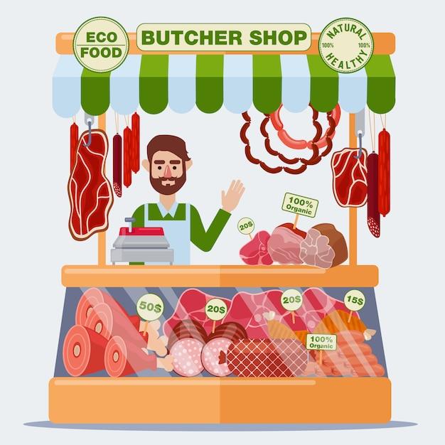 精肉店。肉売り。肉製品ベクトルイラスト Premiumベクター