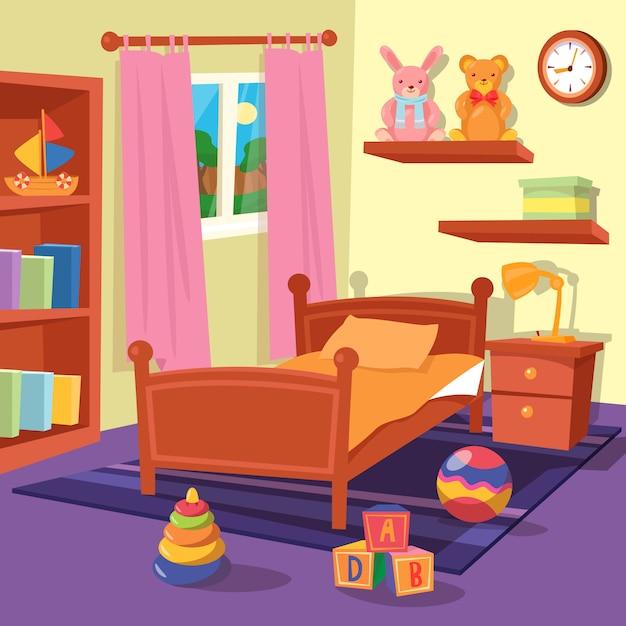 Интерьер детской спальни. детская комната. векторная иллюстрация Premium векторы