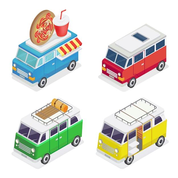 Изометрические автомобиль. закусочная на колесах. семья кемпер. изометрический транспорт. Premium векторы