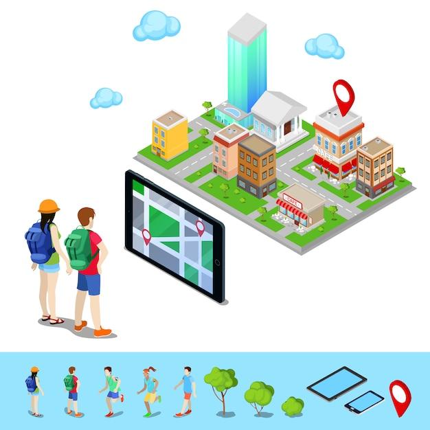 等尺性モバイルナビゲーション。市内のルートを検索する観光客。ベクトル図 Premiumベクター