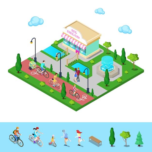 Городской парк с велосипедной дорожкой. семейная езда на велосипедах. активные люди. Premium векторы