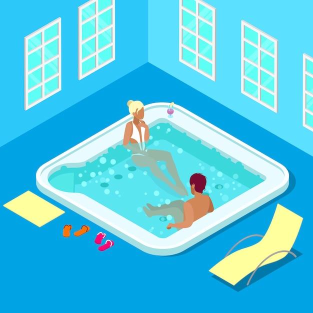 女性と男性の屋内ジャグジー。等尺性の人々。ベクトル図 Premiumベクター