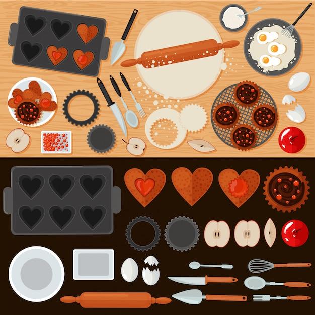 食材とキッチン用品セットのベーカリースイーツ Premiumベクター