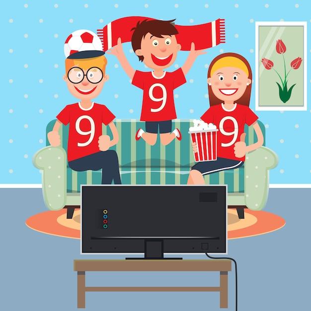 テレビで一緒にサッカーを見て幸せな家族。 Premiumベクター