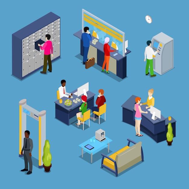 Концепция банковских услуг. интерьер банка с клиентами и банкирами. Premium векторы