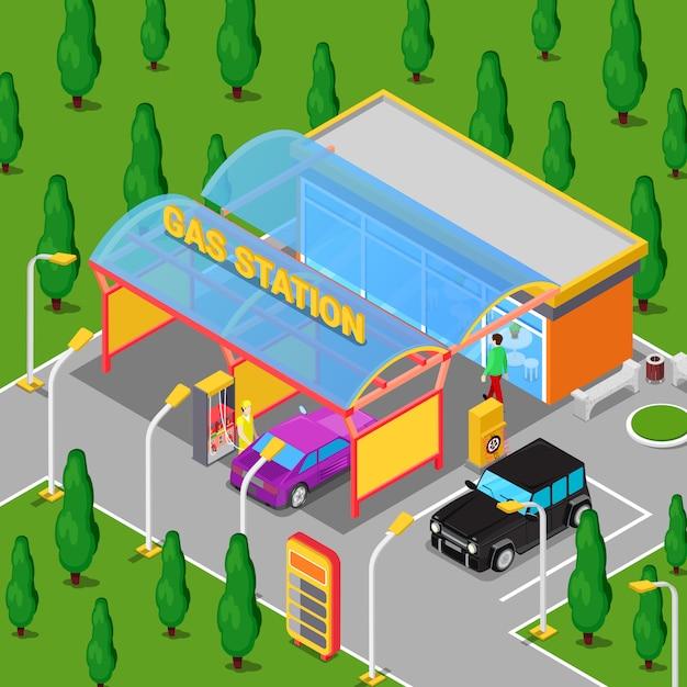 車、軍人、ドライバーと等尺性ガソリンスタンド Premiumベクター