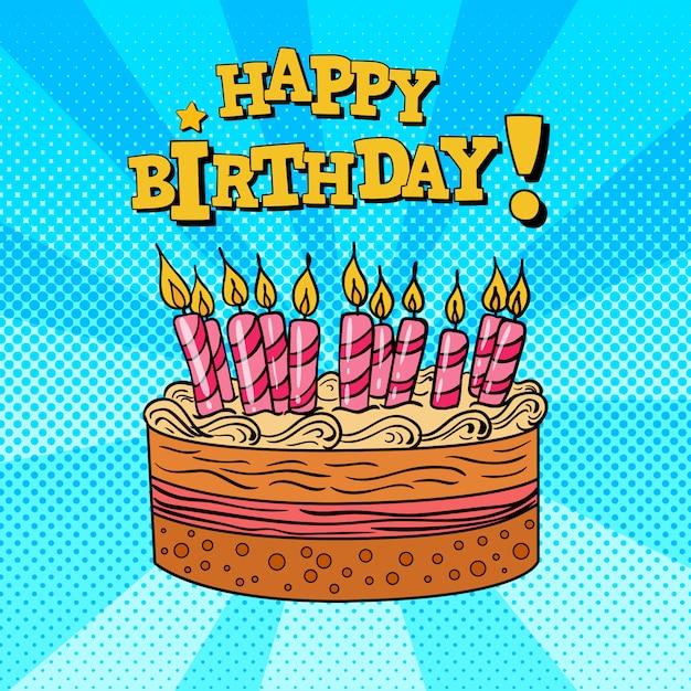 Открытка с днем рождения торт и свечи. Premium векторы