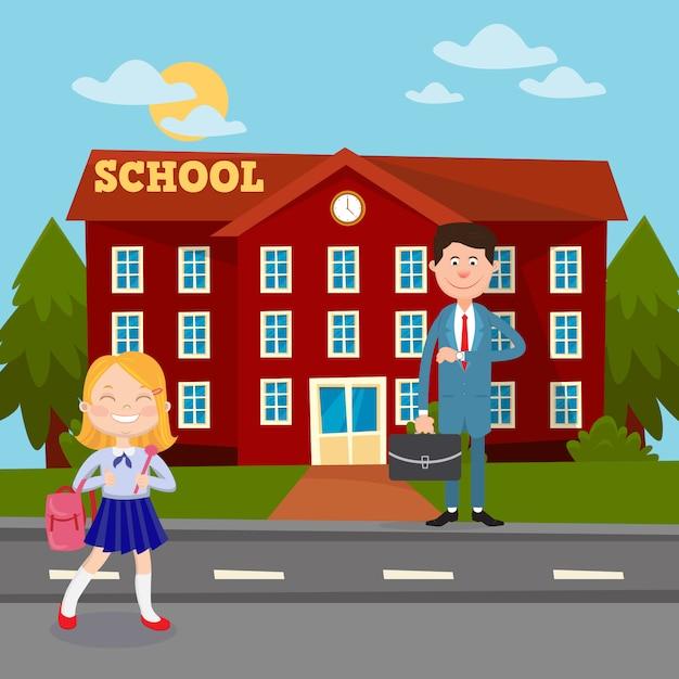 Назад к концепции школьного образования с школьным учителем здания и школьницей. Premium векторы