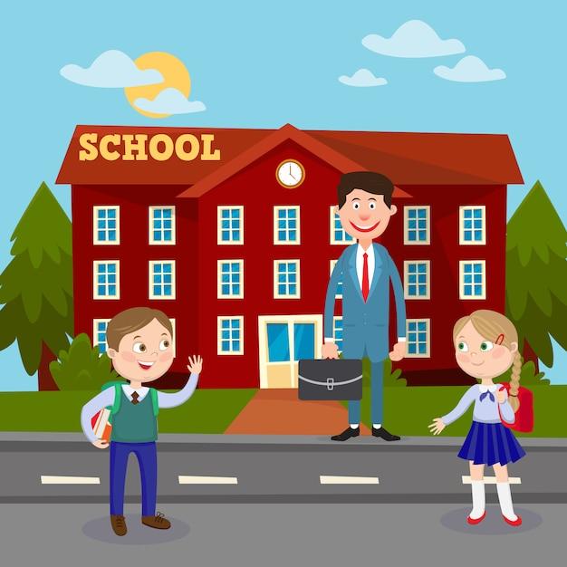 Назад к концепции школьного образования с учителем и учениками школьного здания. Premium векторы
