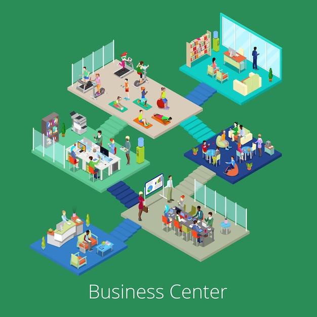 Изометрические бизнес офисный центр здания интерьер с конференц-зала и тренажерный зал. Premium векторы