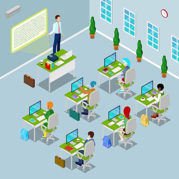 教師と生徒が選挙で等尺性コンピューター教室。 Premiumベクター