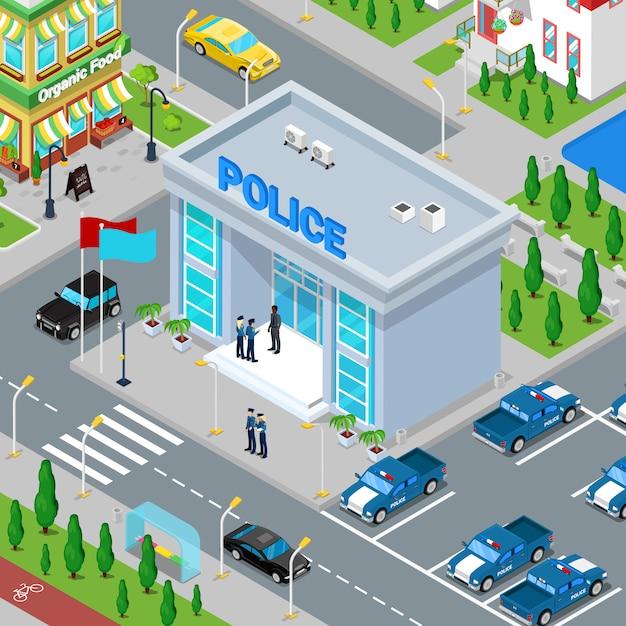 Изометрическое здание полиции с полицейским и полицейской машиной. Premium векторы