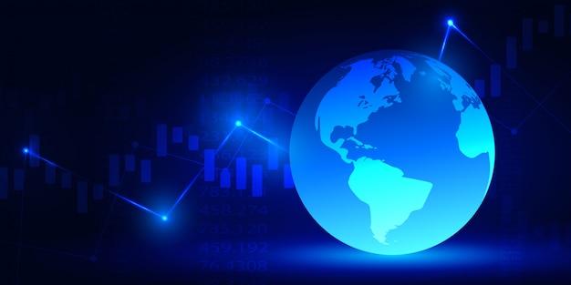 ビジネスと金融の概念の株価グラフまたは外国為替取引チャート Premiumベクター