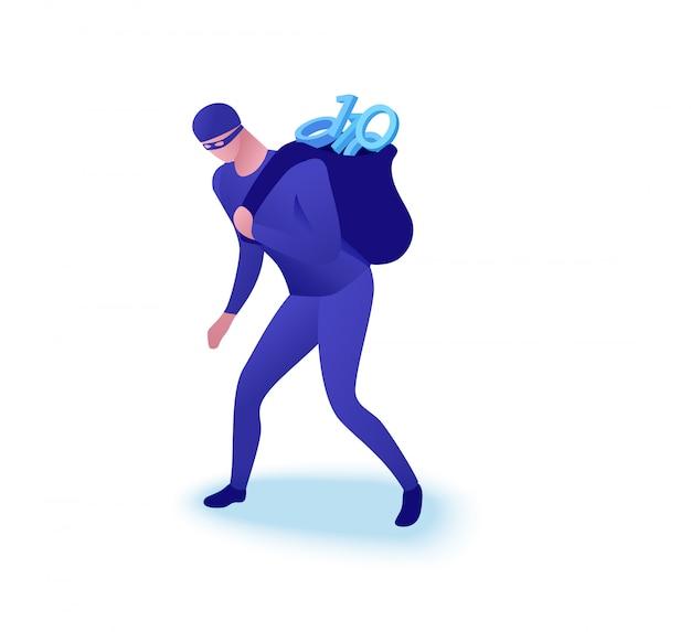 データ盗難の概念、情報を盗む男 Premiumベクター