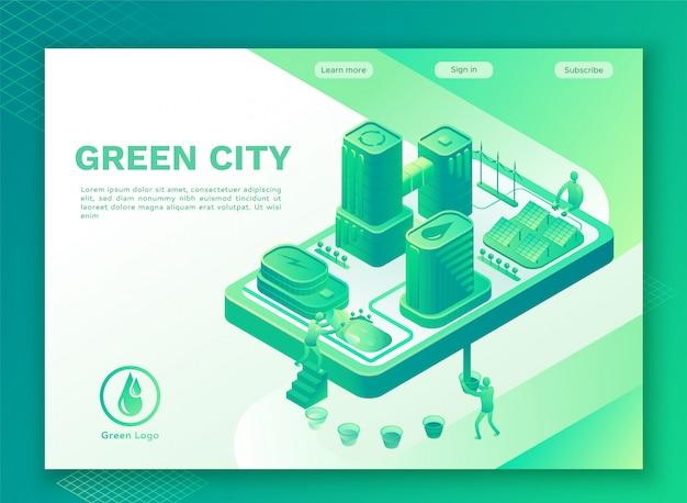 スマートテクノロジーのコンセプトを持つグリーンエコシティ Premiumベクター
