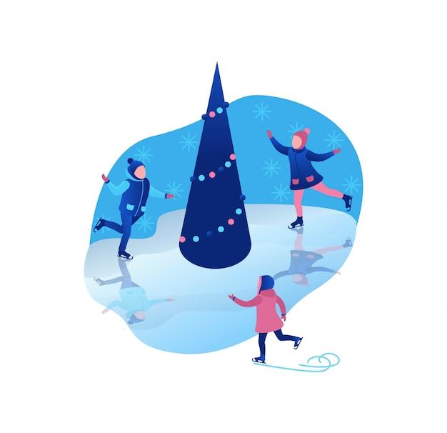 アイススケート等尺性子供 Premiumベクター