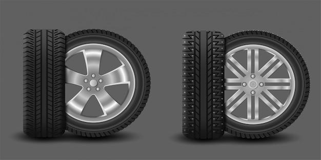 夏用タイヤとスパイク付き冬用タイヤが付いた車のホイール Premiumベクター