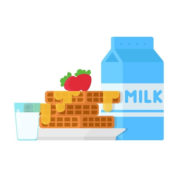 Концептуальный завтрак вафли с клубникой и молоком Premium векторы