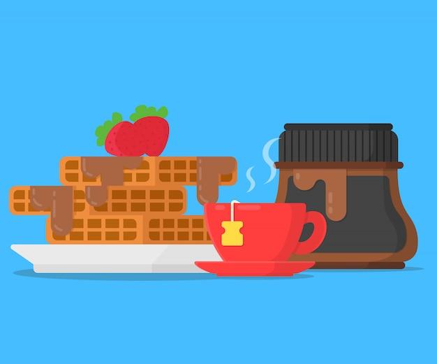 チョコレートパスタとカップティーのコンセプト朝食ワッフル Premiumベクター