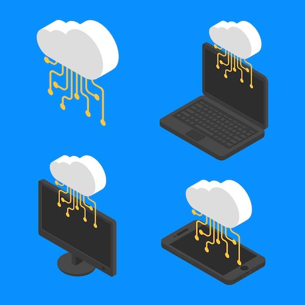 概念クラウドネットワーク技術等尺性を設定します。ベクトルクラウドサーバーデータインターネット Premiumベクター