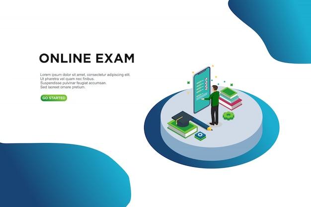 オンライン試験、等角投影図のベクトル図の概念。 Premiumベクター
