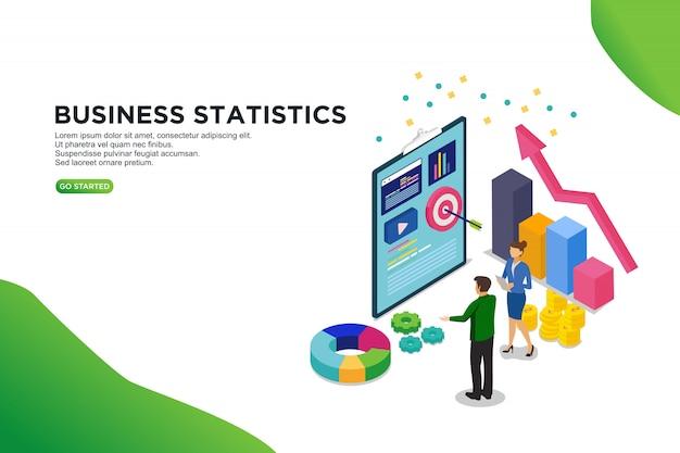 ビジネス統計等尺性ベクトル図の概念 Premiumベクター