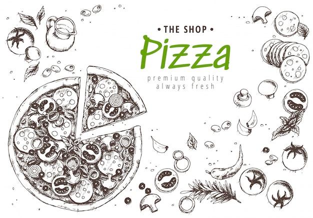 イタリアンピザメニューのトップビュー Premiumベクター