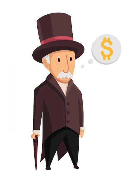 Изображение смешного капиталиста старика в черном костюме и шляпа стоя с тросточкой в его руках на белой предпосылке. бизнес, финансы, монополия, деньги Premium векторы