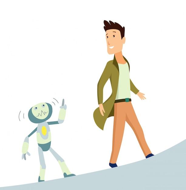 人間とロボット Premiumベクター