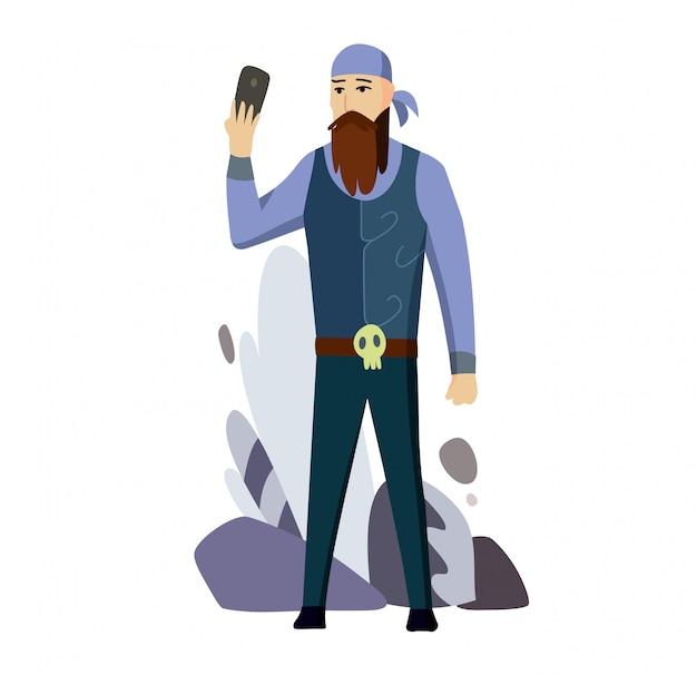 年配の男性人バイカー話すセルスマートフォンフラット Premiumベクター