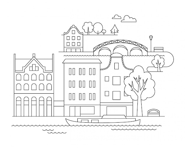 Векторная иллюстрация города в линейном стиле Premium векторы