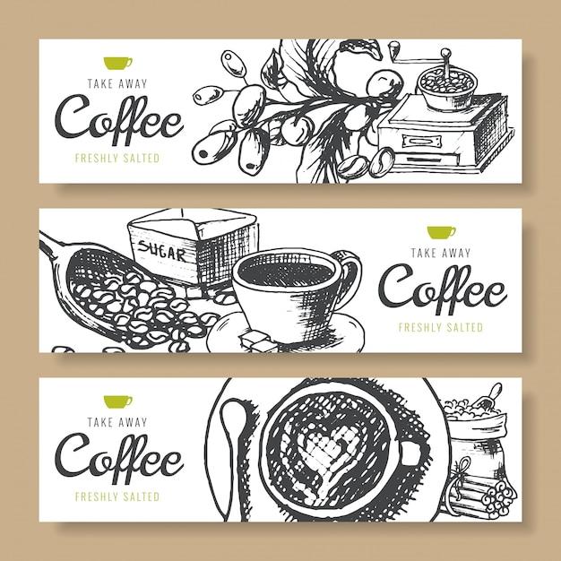 コーヒー豆、焙煎コーヒー、バナーの背景 Premiumベクター