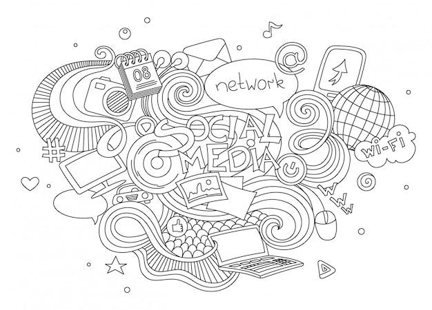 手描き漫画ベクトル落書きソーシャルメディアのサインとシンボル要素のイラストセット Premiumベクター