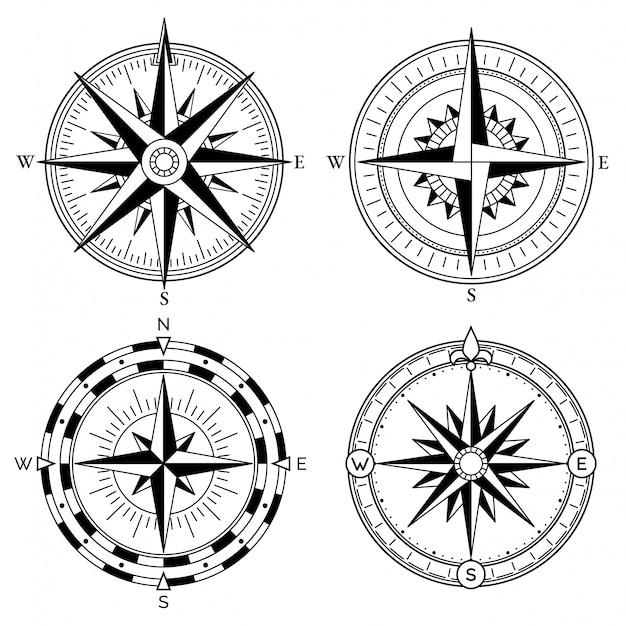 Роза ветров ретро дизайн векторная коллекция Premium векторы